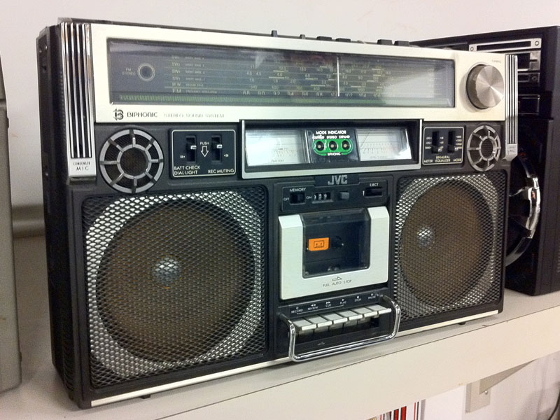 The original JVC boom box from Lyle Owerko's collection