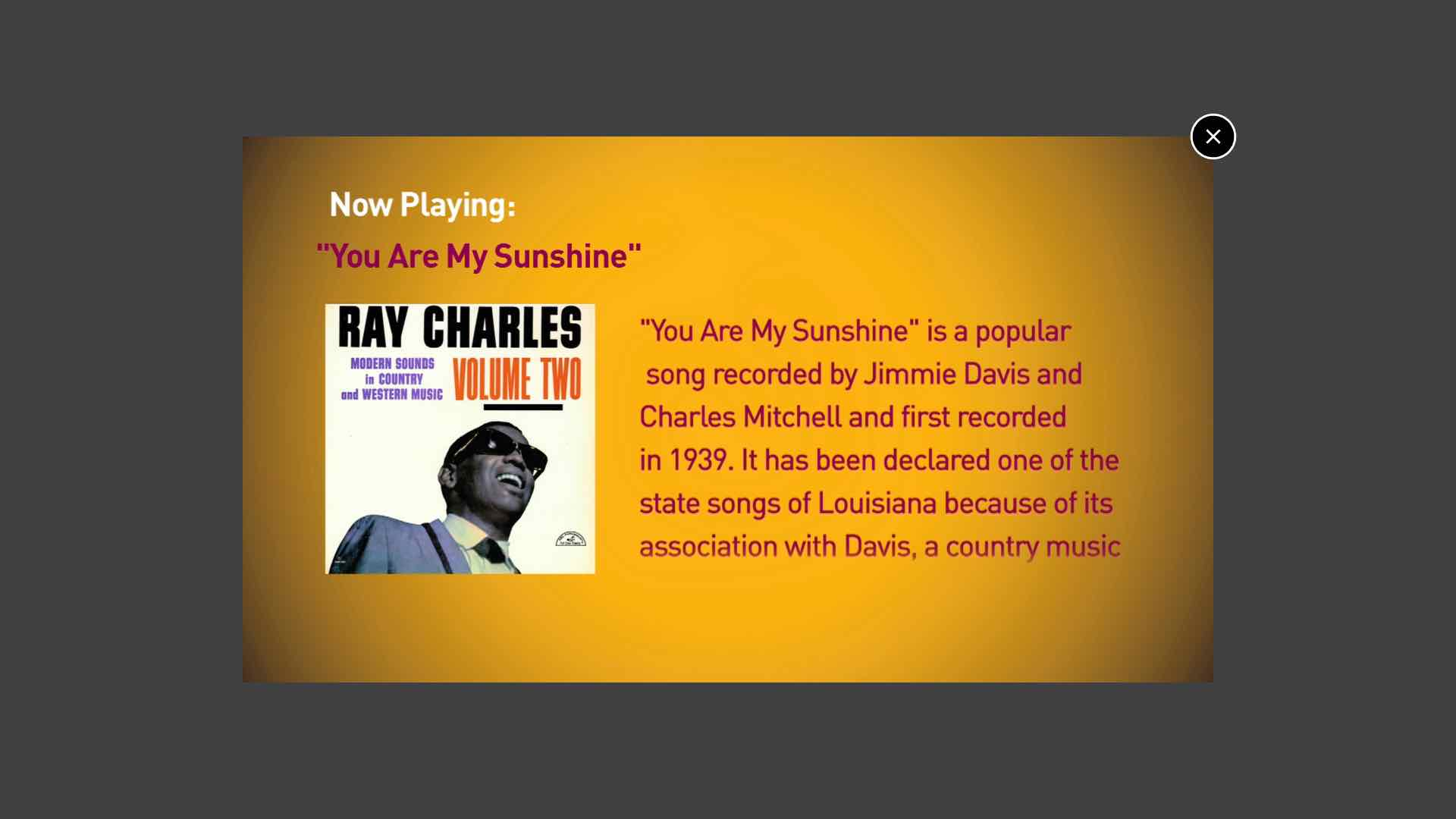 Ray Charles timeline - video overlay